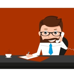 Lucky businessman is signing contract and talking vector image