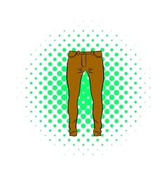 Mens trousers icon comics style vector