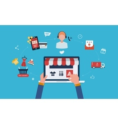 Mobile marketing and online store vector image