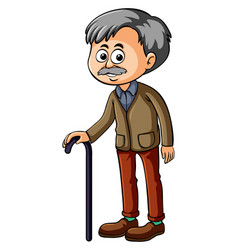 old man with black cane vector image
