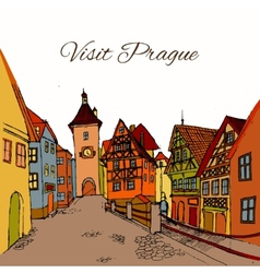 Old town postcard vector image vector image