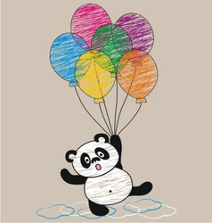 Panda and balloon vector