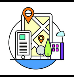 Phone location based map icon vector