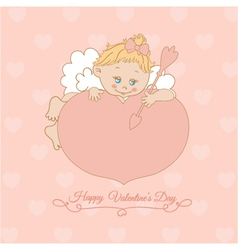 pink card with Valentines Day with Cupid vector image vector image
