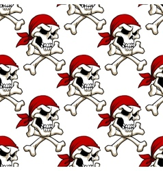 Pirate skull with crossbones seamless pattern vector
