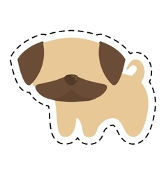 pug puppy cute animal cut line vector image