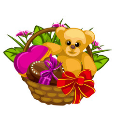 Romantic gift basket with sweets and a toys vector
