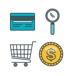 set icons shop online design vector image