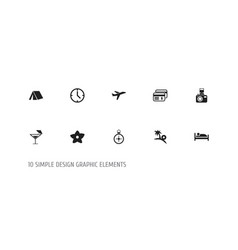 set of 10 editable trip icons includes symbols vector image