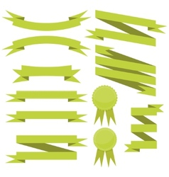 set of flat green ribbons vector image vector image