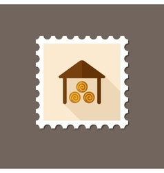 Shed flat stamp with long shadow vector
