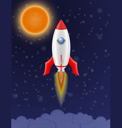 space rocket retro spaceship vector image vector image