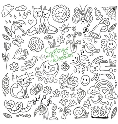 Spring doodles collection vector image