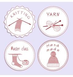Stock set badges of knitting needles sock scarf vector