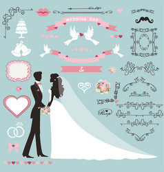 Wedding invitation decor set with coupleswirling vector