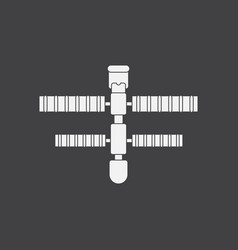 white icon on black background space station vector image vector image