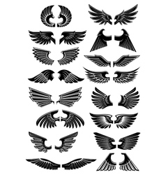 Wings heraldic icons symbols vector image vector image
