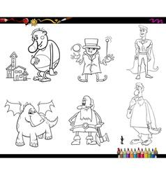 Fantasy set coloring page vector