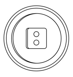 round button icon outline style vector image