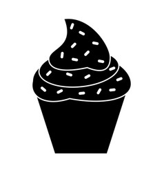 Cupcake sweet dessert pictogram vector