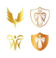 Isolated golden color angel silhouette logo set vector