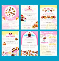 Bakery sweet desserts brochure or posters vector