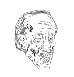 Zombie head eyes closed drawing vector