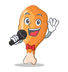 Singing fried chicken character cartoon vector