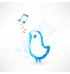 Bird singing grunge icon vector
