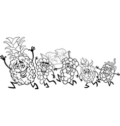 running fruits cartoon coloring page vector image