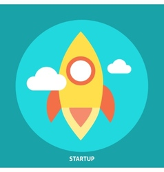 Start up rocket icon vector