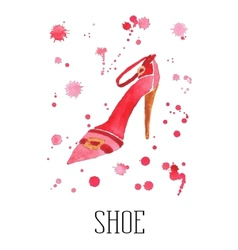Watercolor womens shoe with drops vector