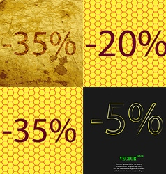 20 35 5 icon set of percent discount on abstract vector