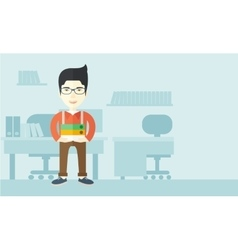 Asian man standing inside his office vector