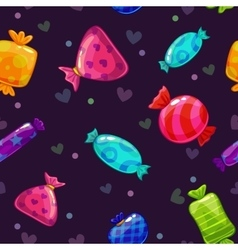 Seamless pattern with bright cartoon candies vector