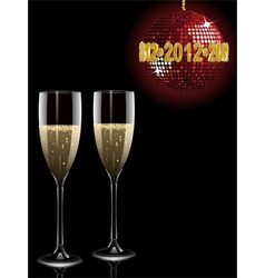 Champagne filled flutes under a sparkling red disc vector