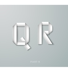 Paper origami alphabet q r with shadows vector