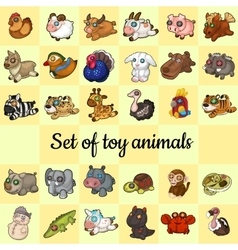 Big set of soft toy animals 30 different icons vector