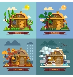 House in different times of the year four seasons vector