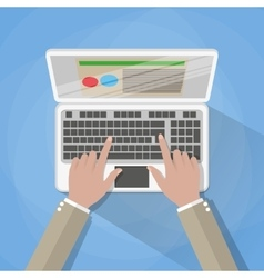 Hands on laptop keyboard vector image