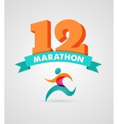 Running marathon people run colorful poster vector