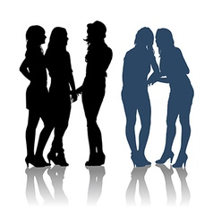 Detailed silhouettes of girlfriends vector