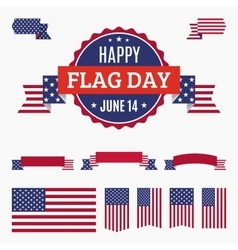 Usa flag day badge banners and ribbons vector