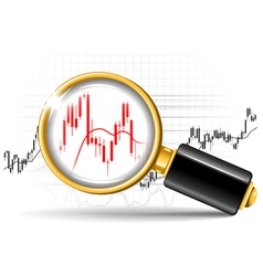 Magnifier and stock chart vector