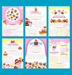 bakery sweet desserts brochure or posters vector image
