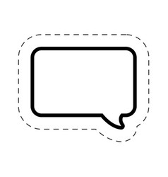 bubble speech square cut line vector image