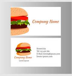 burger business card template for shop vector image vector image