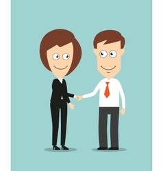 Business woman and businessman shaking hands vector image vector image