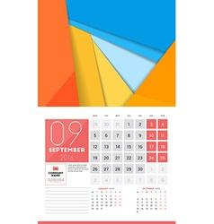Calendar for 2016 year september design clean vector