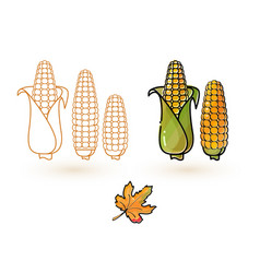 Cartoon corn and leaf line and colorful cor vector